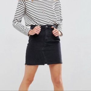 ASOS denim 8 raw hem washed  black Jean skirt